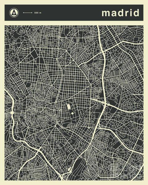 Spain Digital Art - Madrid Map 3 by Jazzberry Blue