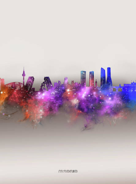 Wall Art - Digital Art - Madrid Skyline Galaxy by Bekim M