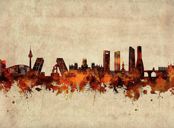 Wall Art - Digital Art - Madrid Skyline Sepia by Bekim M