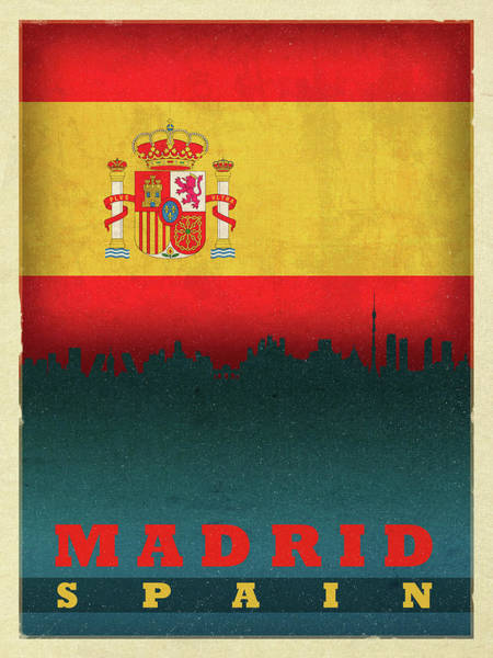 Wall Art - Mixed Media - Madrid Spain City Skyline Flag by Design Turnpike