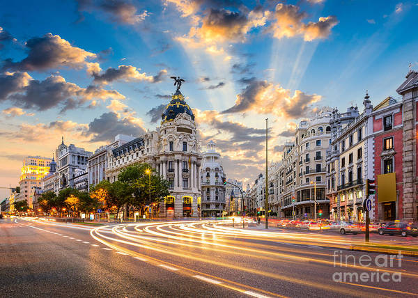 Wall Art - Photograph - Madrid, Spain Cityscape At Calle De by Sean Pavone