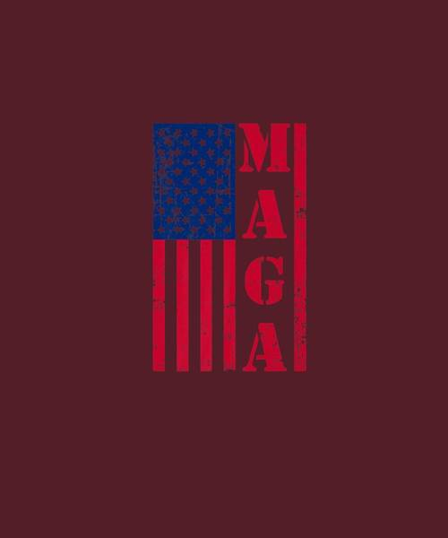 Wall Art - Digital Art - Maga Flag Distressed American Flag Red White And Blue Premium T-shirt by Unique Tees