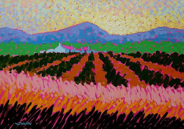 Wall Art - Painting - Magenta Roofs by John  Nolan