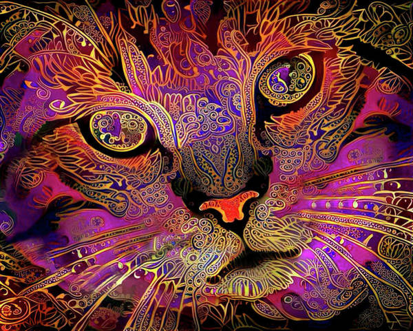 Digital Art - Maggie May The Magenta Tabby Cat by Peggy Collins
