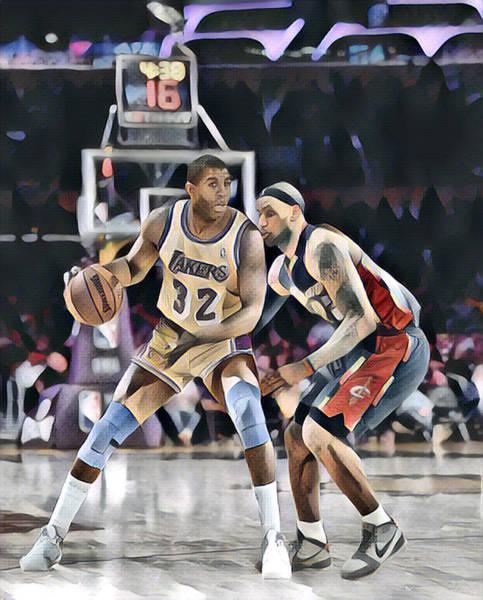 Wall Art - Mixed Media - Magic Johnson Lakers Vs Lebron James Cavaliers Abstract Art 1 by Joe Hamilton