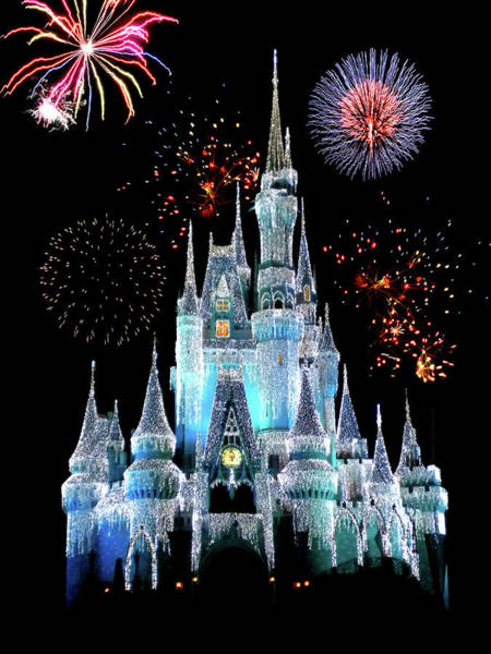 Fl Photograph - Magic Kingdom Castle In Frosty Light Blue With Fireworks 06 by Thomas Woolworth