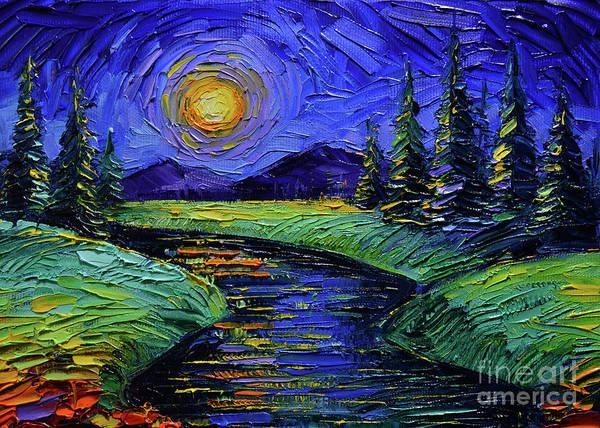 Full Moon Night Painting - Magic Night - Detail 2 - Fantasy Landscape by Mona Edulesco