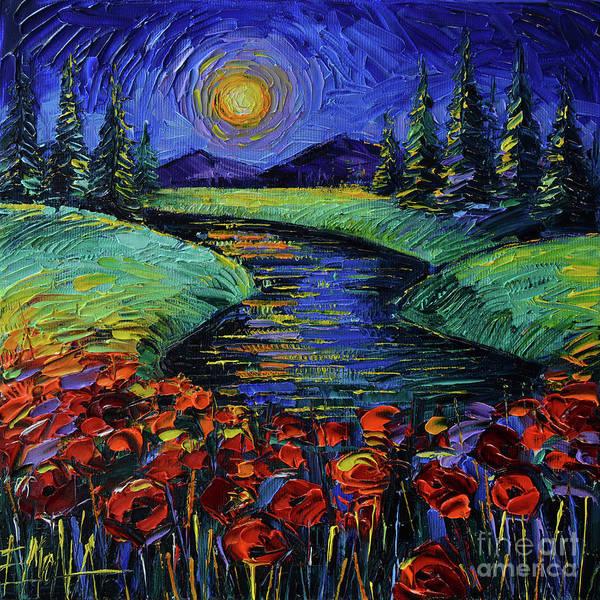 Full Moon Night Painting - Magic Night - Modern Impressionist Impasto Palette Knife Oil Painting Mona Edulesco by Mona Edulesco