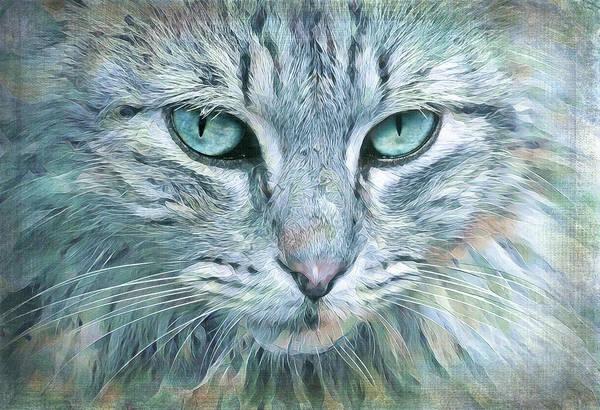 Wall Art - Digital Art - Magical Blue Cat by Terry Davis