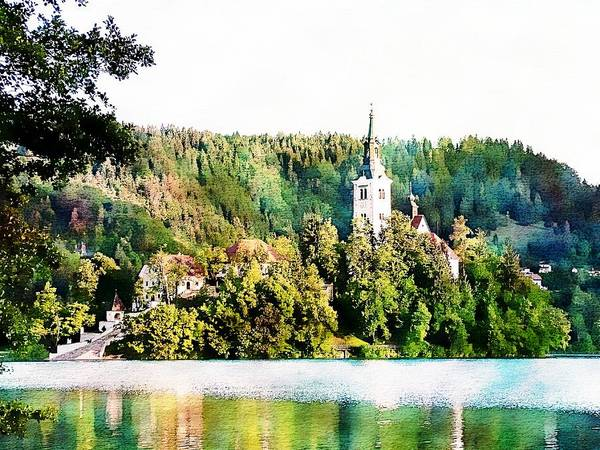 Digital Art - Magical Lake Bled by Joseph Hendrix