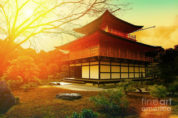 Landmark Building Photograph - Magical Sunset Over Kinkakuji Temple by Vvvita