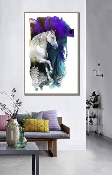 Wall Art - Digital Art - Magical White Horse- Artwork In Situ by Grace Iradian