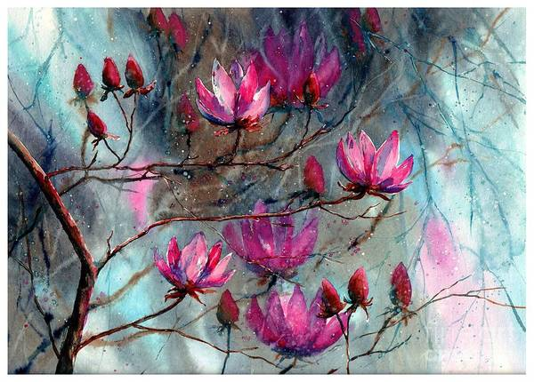 Blooming Painting - Magnolia At Midnight by Suzann Sines