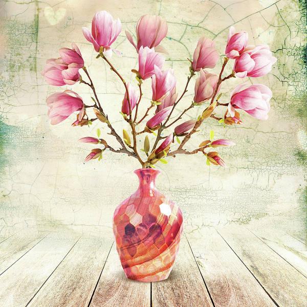 Still Life Mixed Media - Magnolia Copper Vase by A.v. Art