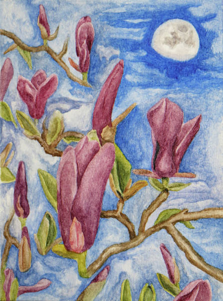Painting - Magnolias With Daytime Moon by Robert Morin