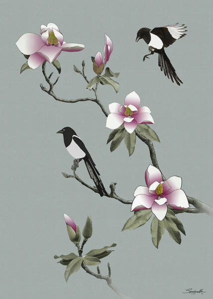 Wall Art - Digital Art - Magpies And Magnolia by Spadecaller