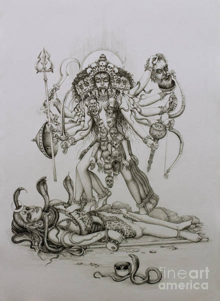 Wall Art - Painting - Mahakali Drawing by Vrindavan Das
