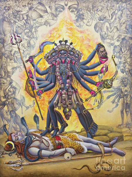 Wall Art - Painting - Mahakali by Vrindavan Das