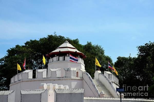 Photograph - Mahakan Fort Walls And Thai Flag Near Saen Saepcanal Bangkok Thailand by Imran Ahmed