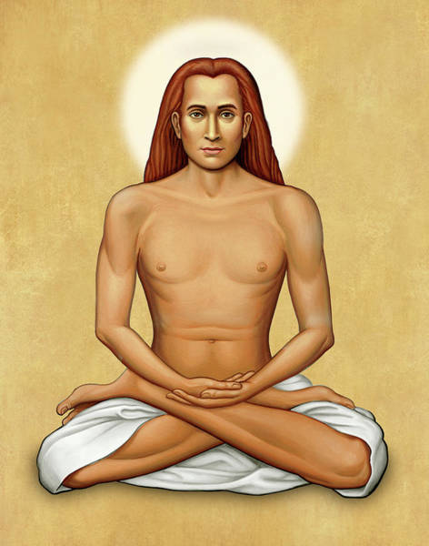Mahavatar Babaji On Gold Art Print