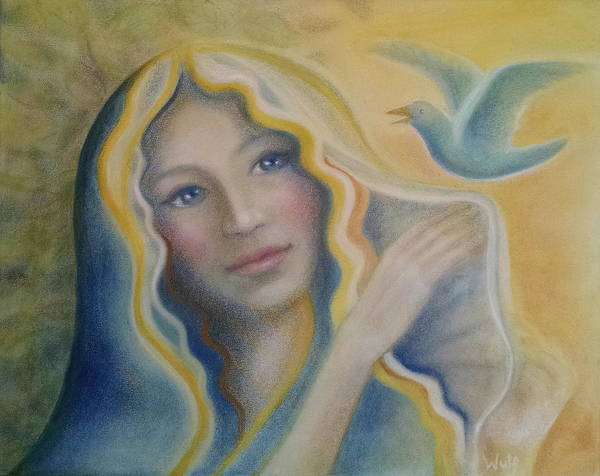 Painting - Maiden And Bluebird by Bernadette Wulf