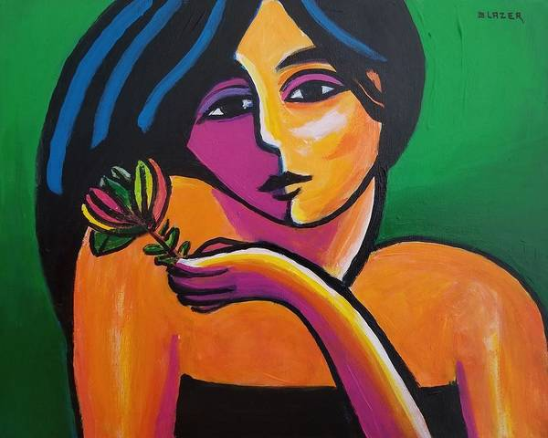 Wall Art - Painting - Maiden With Flower by Stuart Glazer
