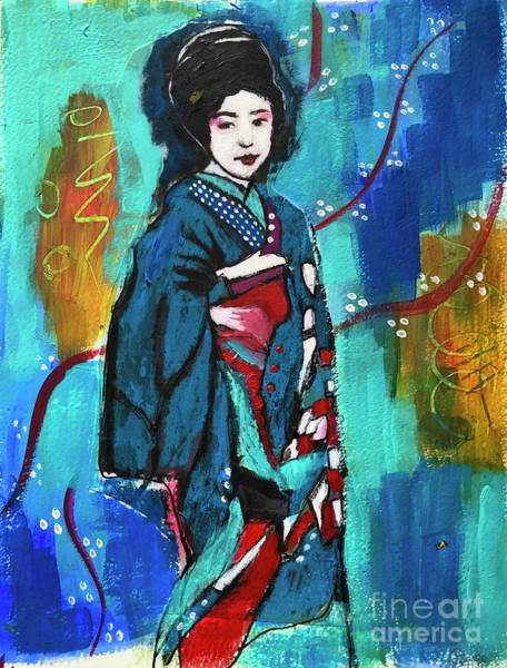 Wall Art - Mixed Media - Maiko In Blue  by Corina Stupu Thomas