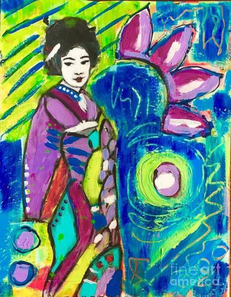 Wall Art - Mixed Media - Maiko In Green  by Corina Stupu Thomas