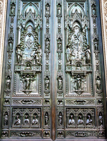 Photograph - Main Bronze Door Of The Florence Cathedral by John Rizzuto