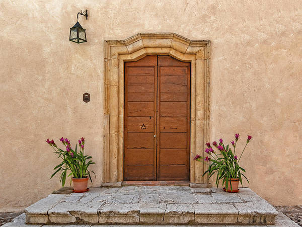 Photograph - Main Door And Flowerpots by Roberto Pagani