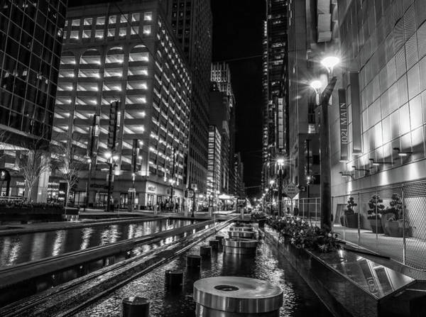 Wall Art - Photograph - Main Street Square Houston Black And White by Dan Sproul