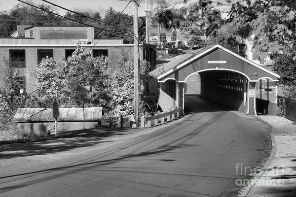 Photograph - Main Street Thompson Covered Bridge Black And White by Adam Jewell