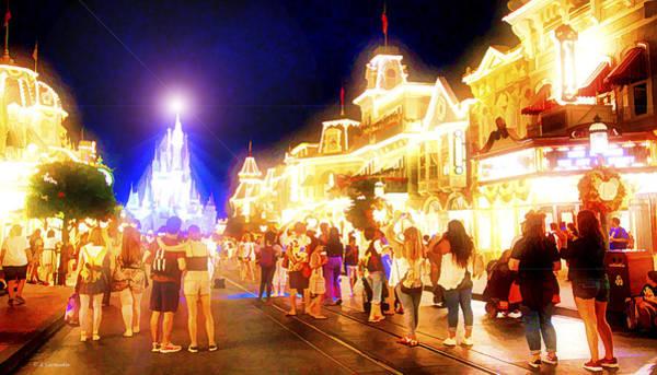 Photograph - Main Street Usa, Nighttime, Walt Disney World by A Gurmankin