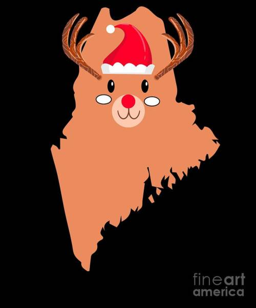 Ugly Digital Art - Maine Christmas Hat Antler Red Nose Reindeer by TeeQueen2603