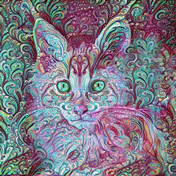 Digital Art - Maine Coon Kitten Paisley Deluxe by Peggy Collins