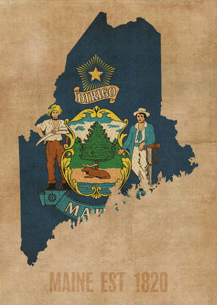 Maine State Flag Map Founded Date Art Print