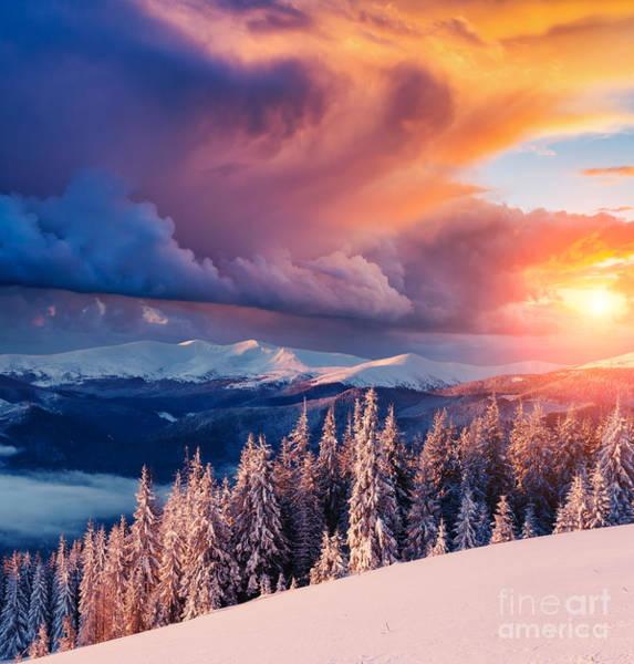 Majestic Landscape Glowing By Sunlight Art Print