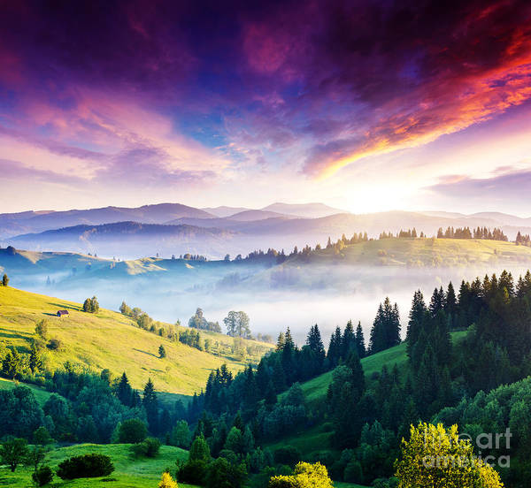 Beautiful Sunrise Photograph - Majestic Mountain Landscape With by Creative Travel Projects