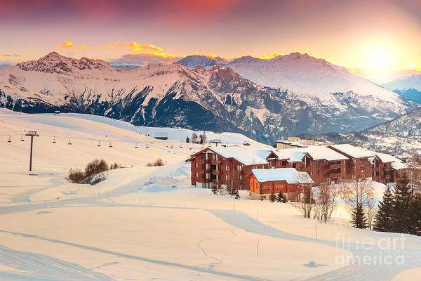 Landmark Building Photograph - Majestic Winter Sunrise Landscape And by Gaspar Janos