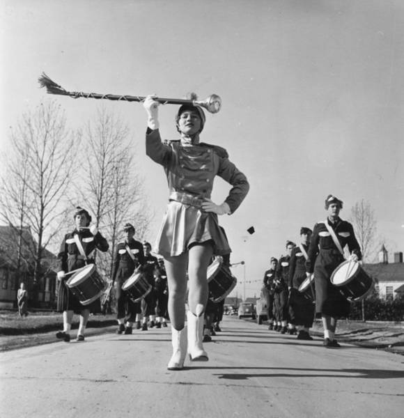 Marching Photograph - Majorettes by John Chillingworth
