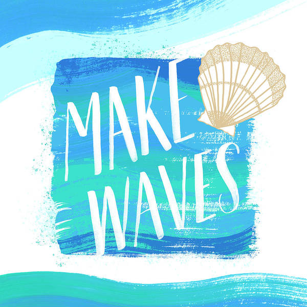 Painting - Make Waves Seashell Coastal Art by Jen Montgomery