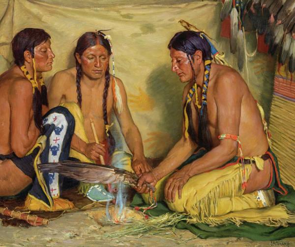 Wall Art - Painting - Making Sweet Grass Medicine, Blackfoot Ceremony, 1920 by Joseph Henry Sharp