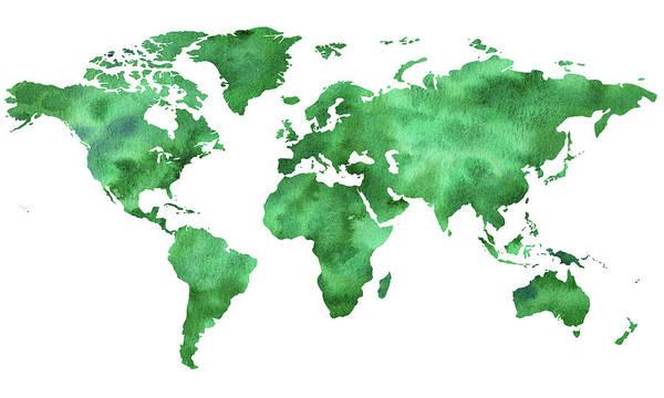 Wall Art - Painting - Making World Green Watercolor Map by Irina Sztukowski