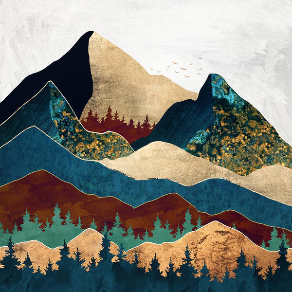 Wall Art - Digital Art - Malachite Mountains by Spacefrog Designs