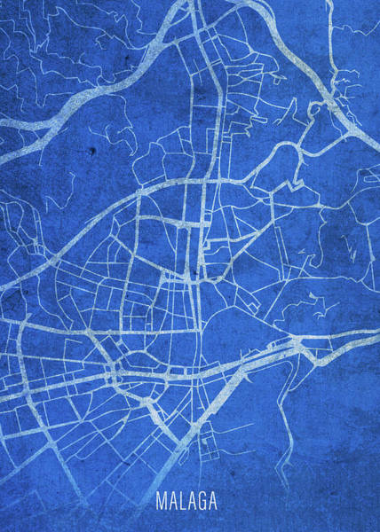 Wall Art - Mixed Media - Malaga Spain City Street Map Blueprints by Design Turnpike
