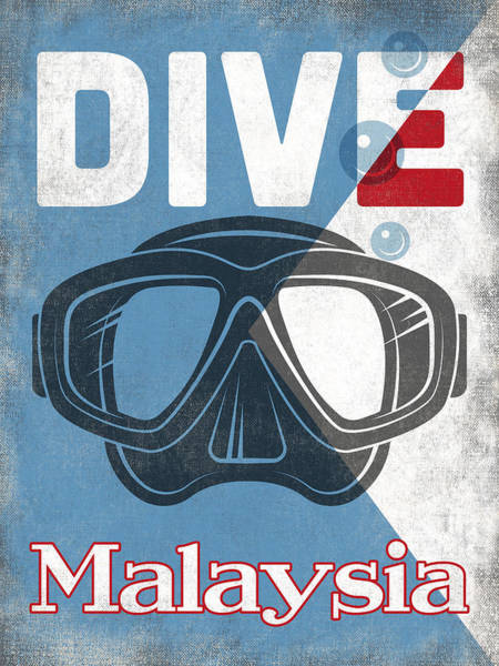 Scuba Digital Art - Malaysia Vintage Scuba Diving Mask by Flo Karp