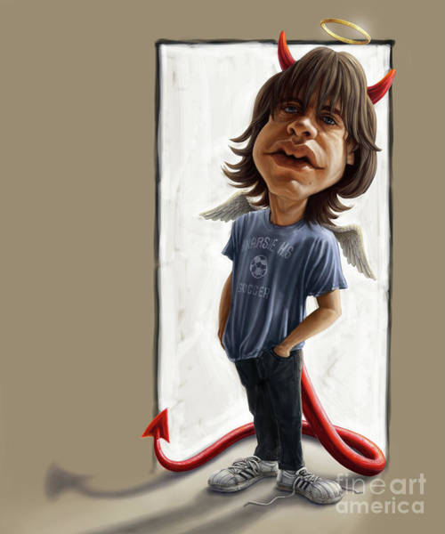 Tribute Digital Art - Malcolm Young Caricature by Andre Koekemoer