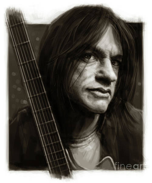 Ac Dc Wall Art - Digital Art - Malcolm Young Sketch Portrait by Andre Koekemoer