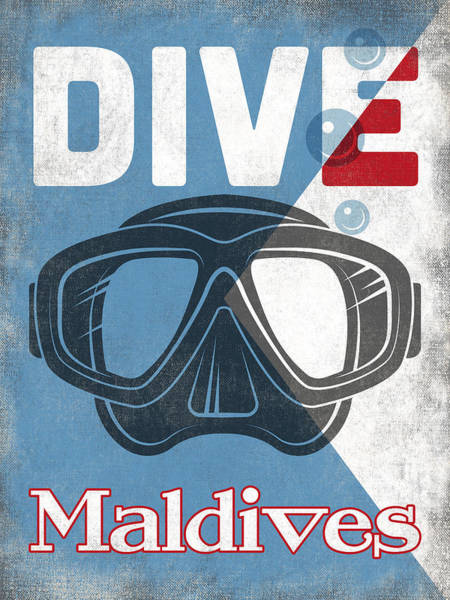 Mask Digital Art - Maldives Vintage Scuba Diving Mask by Flo Karp