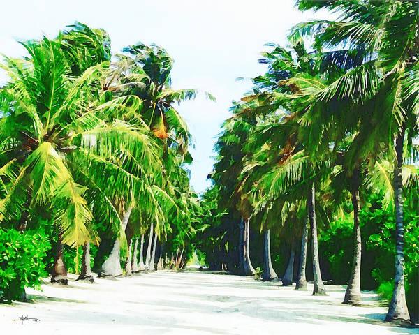 Arisen Painting - Maldives,white Sandy Pathway by Rani S Manik